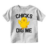 Chicks Dig Me Funny Chicken Baby Infant Short Sleeve T-Shirt Grey