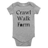 Crawl Walk Farm Baby Bodysuit One Piece Grey