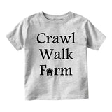 Crawl Walk Farm Baby Infant Short Sleeve T-Shirt Grey