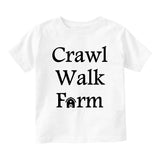 Crawl Walk Farm Baby Infant Short Sleeve T-Shirt White