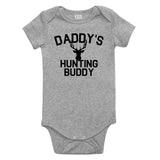 Daddys Hunting Buddy Deer Antlers Baby Bodysuit One Piece Grey
