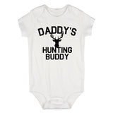 Daddys Hunting Buddy Deer Antlers Baby Bodysuit One Piece White