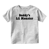 Daddys Lil Monster Baby Infant Short Sleeve T-Shirt Grey
