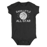 Dads Little All Star Basketball Sports Baby Bodysuit One Piece Black