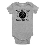 Dads Little All Star Basketball Sports Baby Bodysuit One Piece Grey