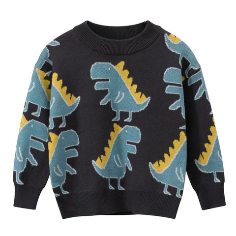 Dark Grey Blue Dinosaur All Over Toddler Boys Knitted Sweater