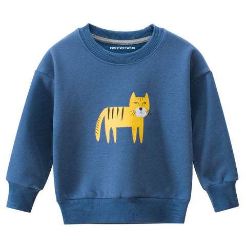 Blue Tiger Graphic RM Toddler Boys Crewneck Sweatshirt
