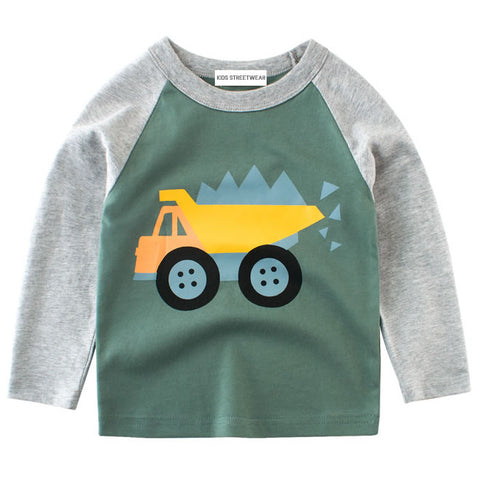 Dusty Green Construction Truck RM Toddler Boys Raglan Long Sleeve Shirt
