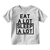 Eat A Lot Sleep A Lot Baby Infant Short Sleeve T-Shirt Grey