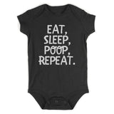 Eat Sleep Poop Funny Baby Bodysuit One Piece Black