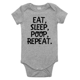 Eat Sleep Poop Funny Baby Bodysuit One Piece Grey