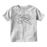 Flying Airplane In The Clouds Pilot Baby Infant Short Sleeve T-Shirt Grey