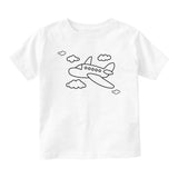 Flying Airplane In The Clouds Pilot Baby Infant Short Sleeve T-Shirt White