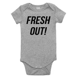 Fresh Out Birth Baby Bodysuit One Piece Grey