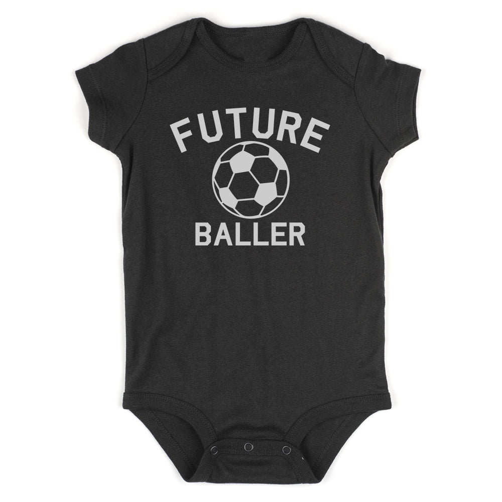 Future Baller Soccerl Sports Baby Bodysuit One Piece Black