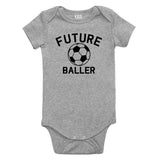 Future Baller Soccerl Sports Baby Bodysuit One Piece Grey
