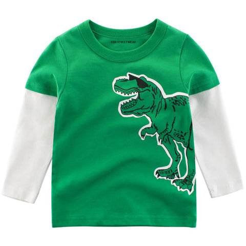 Green Funny Dinosaur Sunglasses RM Toddler Boys Long Sleeve Shirt