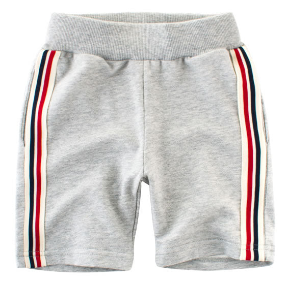 Heather Grey Multi Striped Toddler Boys Sweat Shorts