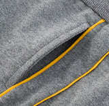 Grey And Yellow Striped Toddler Boys Jogger Pants Detail