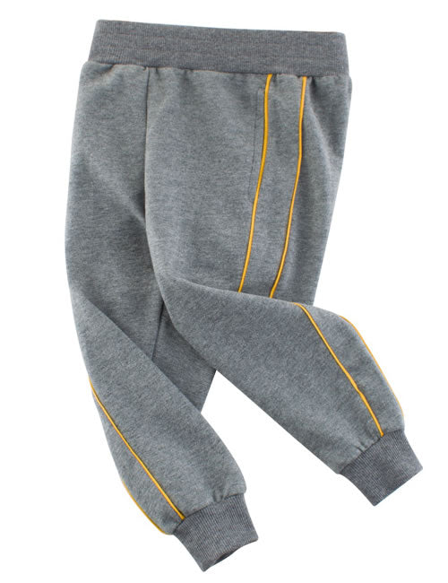 Grey And Yellow Striped Toddler Boys Jogger Pants