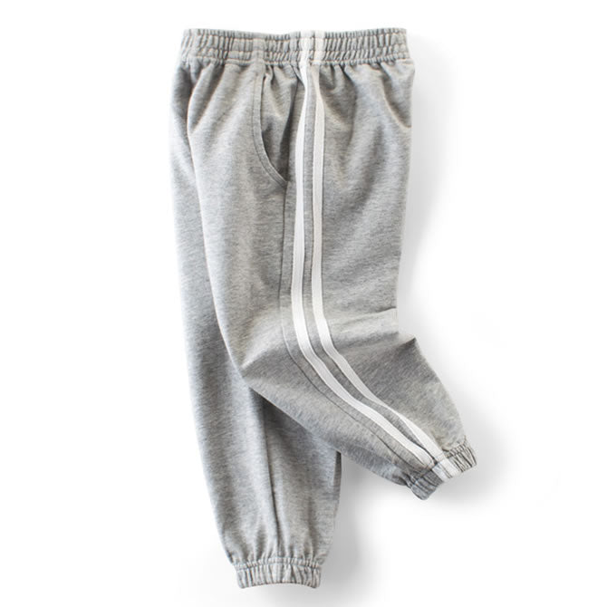 Grey Classic Double Striped Toddler Boys Casual Pants