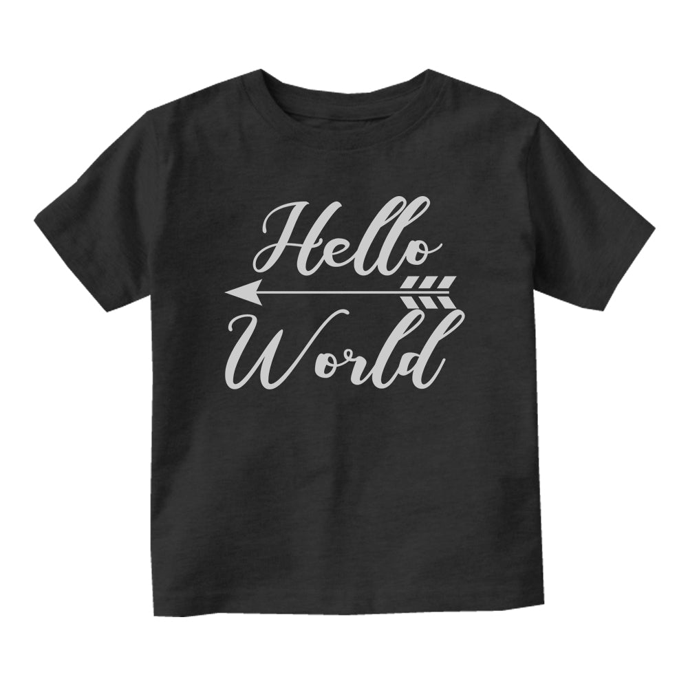 Hello World Arrow First Day Born Baby Infant Short Sleeve T-Shirt Black