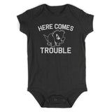 Here Comes Trouble Baby Bodysuit One Piece Black