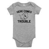 Here Comes Trouble Baby Bodysuit One Piece Grey