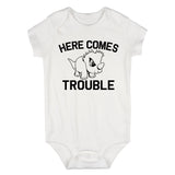 Here Comes Trouble Baby Bodysuit One Piece White