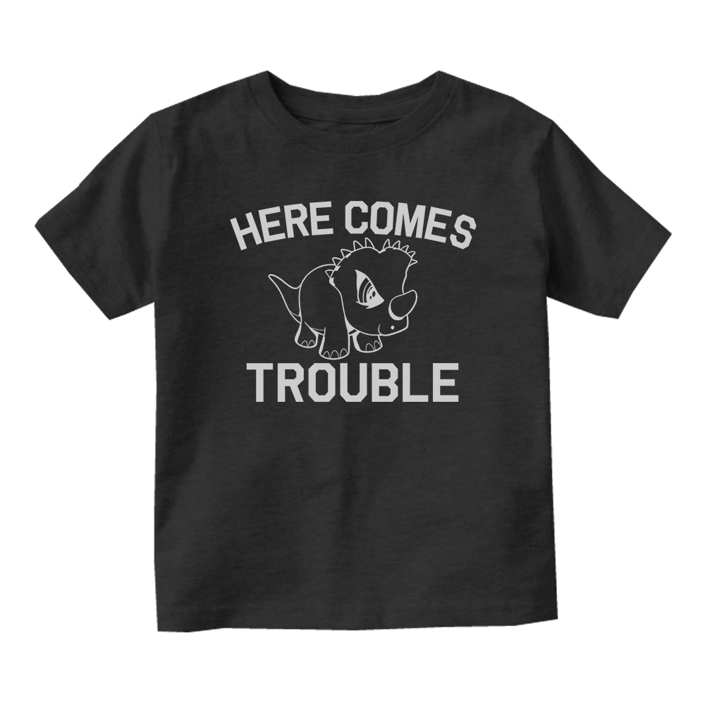 Here Comes Trouble Baby Infant Short Sleeve T-Shirt Black