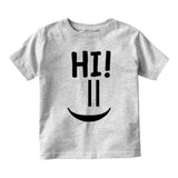 Hi Smiley Emoticon Cute Baby Toddler Short Sleeve T-Shirt Grey