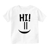 Hi Smiley Emoticon Cute Baby Toddler Short Sleeve T-Shirt White
