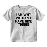I Am Why We Cant Have Nice Things Baby Toddler Short Sleeve T-Shirt Grey