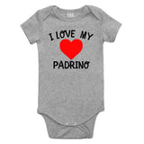 I Love My Padrino Baby Bodysuit One Piece Grey