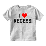 I Love Recess Red Heart Infant Baby Boys Short Sleeve T-Shirt Grey