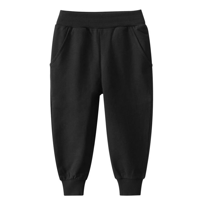 Plain Black Cotton Toddler Boys Jogger Sweatpants