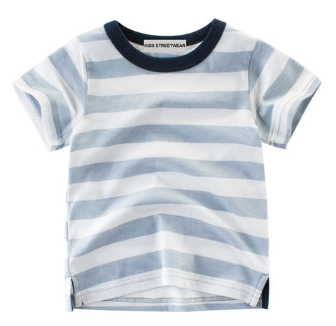 Light Blue Striped Toddler Boys T-Shirt