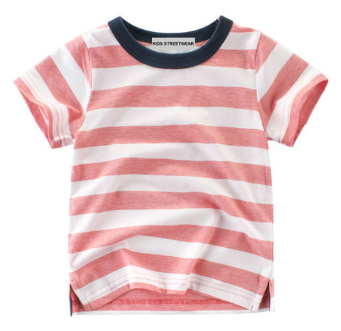Kids Streetwear Red Striped Toddler Boys T-Shirt