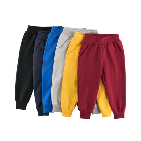 Solid Color Cotton Toddler Boys Jogger Sweatpants