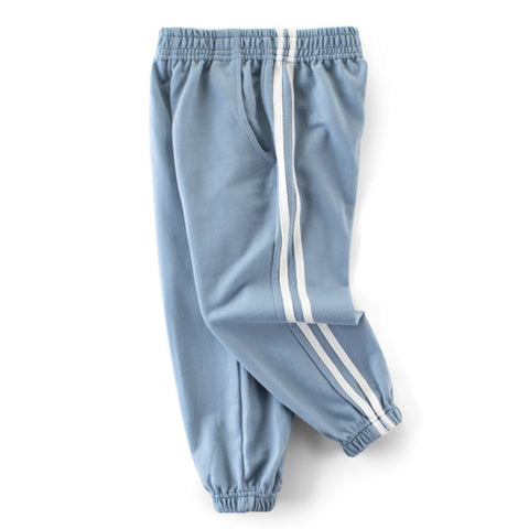 Light Blue Classic Double Striped Toddler Boys Casual Pants