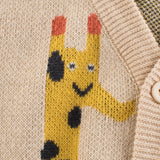 Light Tan Giraffe Pattern Toddler Knitted Cardigan Sweater