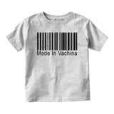 Made In Vachina Barcode Baby Infant Short Sleeve T-Shirt Grey