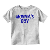 Momma's Boy Blue Baby Toddler Short Sleeve T-Shirt Grey