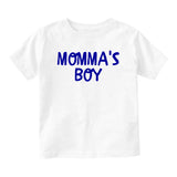 Momma's Boy Blue Baby Infant Short Sleeve T-Shirt White