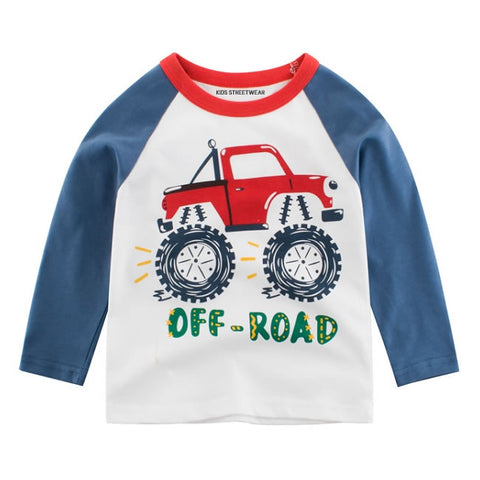 Blue Monster Truck Off Road RM Toddler Boys Raglan Long Sleeve Shirt