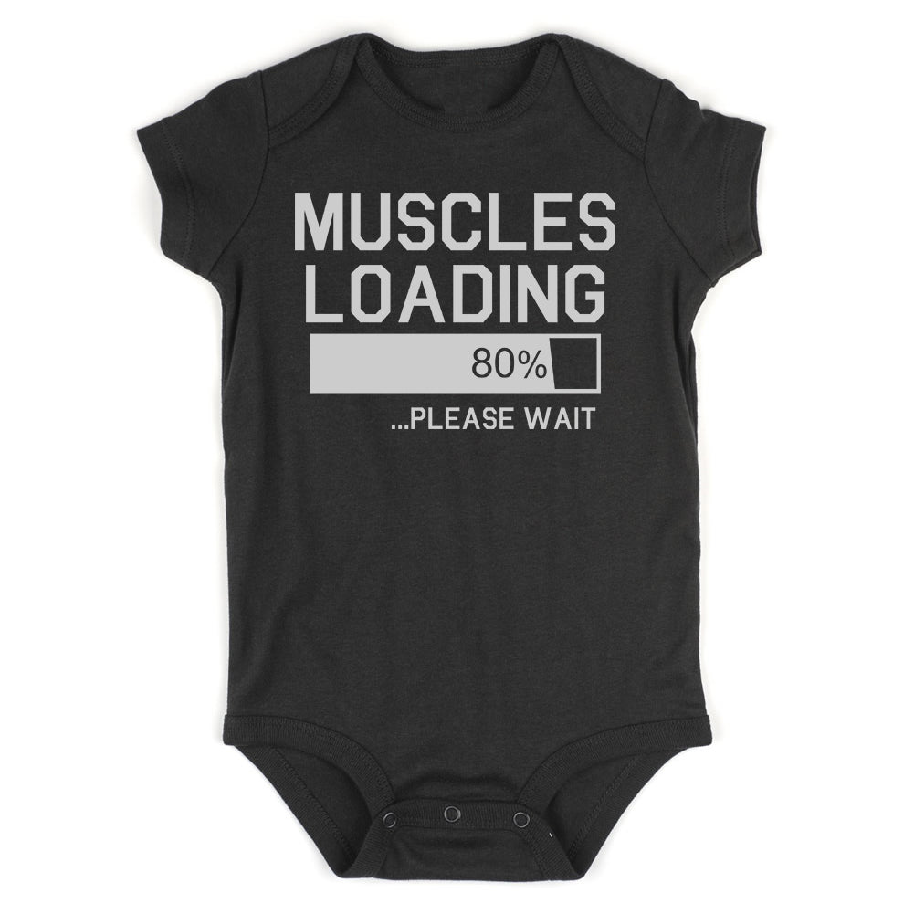 Muscles Loading Please Wait Gym Infant Baby Boys Bodysuit Black