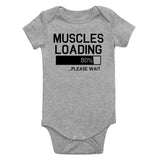 Muscles Loading Please Wait Gym Infant Baby Boys Bodysuit Grey