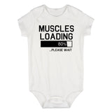 Muscles Loading Please Wait Gym Infant Baby Boys Bodysuit White