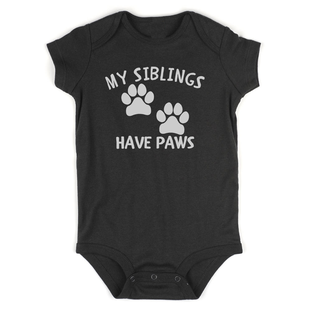 My Siblings Have Paws Baby Bodysuit One Piece Black