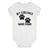 My Siblings Have Paws Baby Bodysuit One Piece White